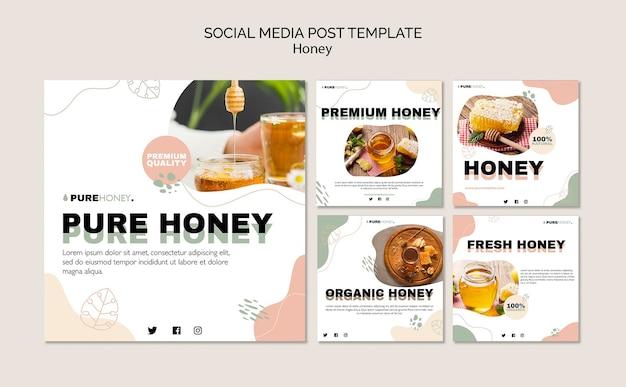 Raccolta di post su instagram per miele puro Psd Gratuite