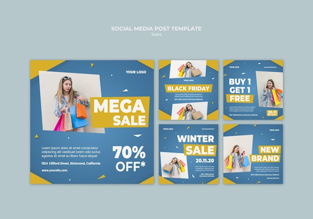Instagram posts collection for retail sale Free Psd