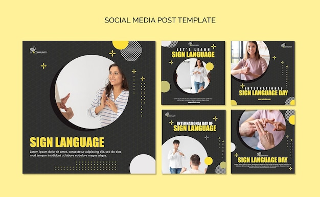 Instagram posts collection for sign language communication Free Psd