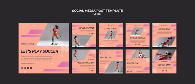 Instagram posts collection for soccer Free Psd