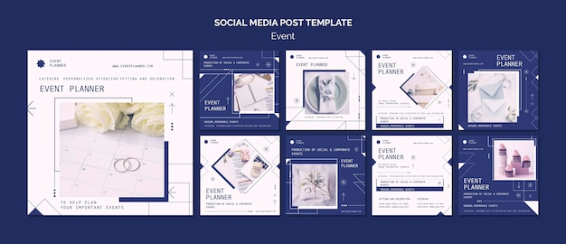 Instagram posts collection for social and corporate event planning