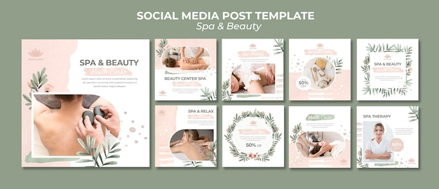 Instagram posts collection for spa and therapy Premium Psd