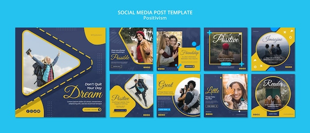 Instagram posts collection for staying positive Premium Psd