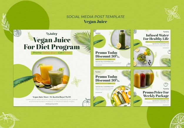 Instagram posts collection for vegan juice delivery company Free Psd