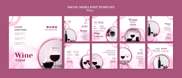 Instagram posts collection for wine tasting Free Psd