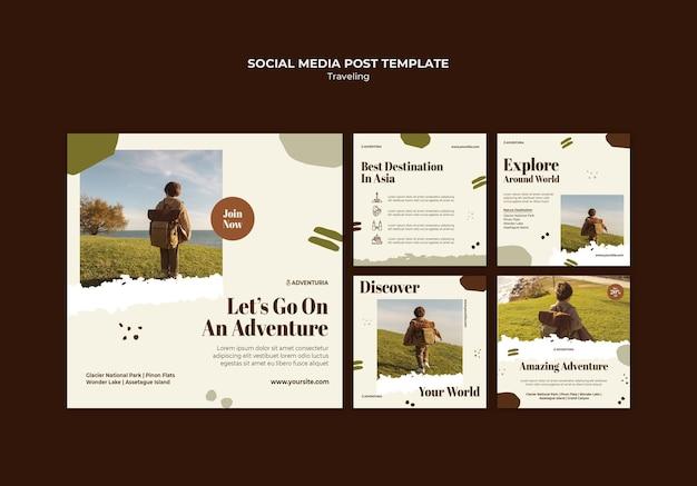 배낭 여행하는 어린이와 instagram 게시물 컬렉션 무료 PSD 파일