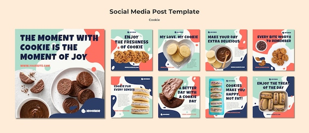 Instagram posts collection with cookies Premium Psd