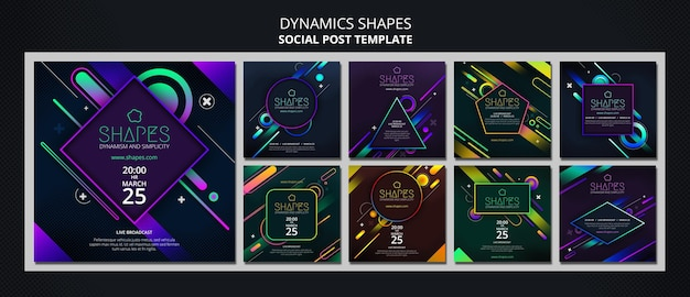Instagram posts collection with dynamic geometric neon shapes Premium Psd