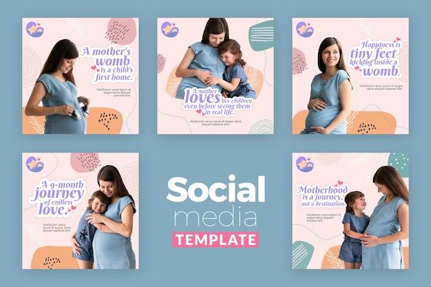 임산부와 instagram 게시물 컬렉션 무료 PSD 파일