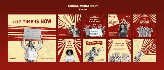 인권에 항의하는 Instagram 게시물 모음 프리미엄 PSD 파일