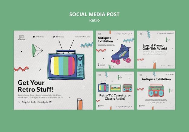 Instagramはレトロなアイテムでコレクションを投稿します 無料 Psd