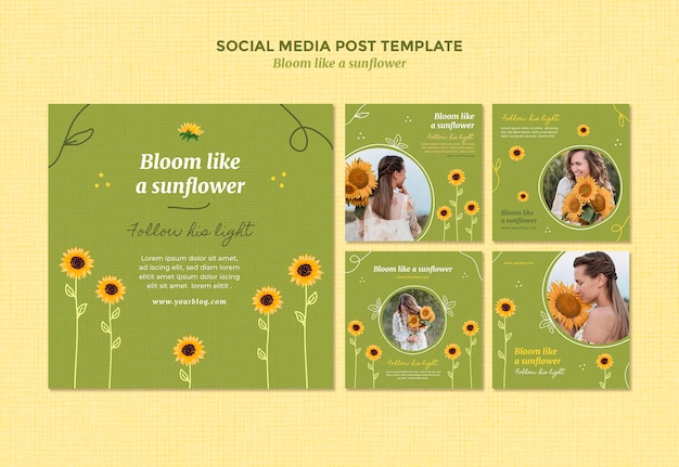 Instagram posts collection with sunflowers and woman Premium Psd