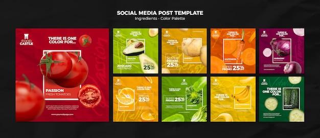 Коллекция постов в instagram с яркими овощами и фруктами Premium Psd