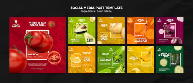 Instagram posts collection with vibrant vegetables and fruits Premium Psd