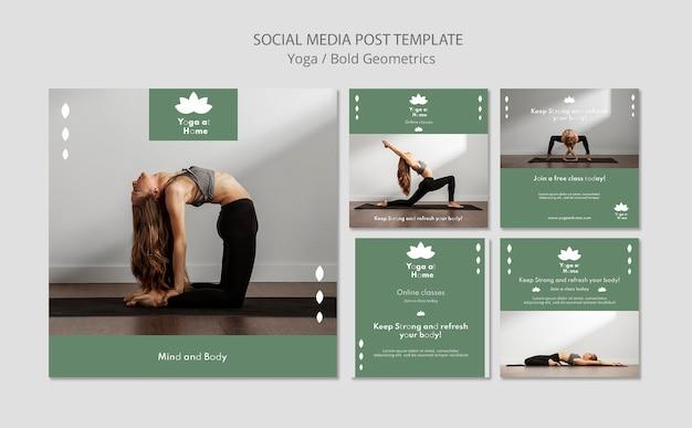 요가를 연습하는 여자와 instagram 게시물 컬렉션 무료 PSD 파일