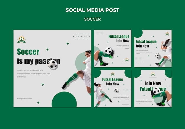Instagram posts collection for women's football league Free Psd