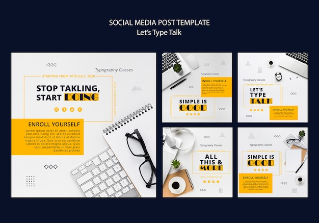 Instagram posts collection for work productivity Premium Psd