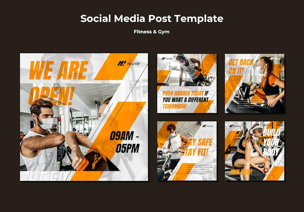 Instagram posts collection for working out at the gym during the pandemic Free Psd