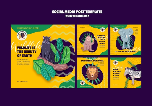 Instagram posts collection for world wildlife day celebration Free Psd