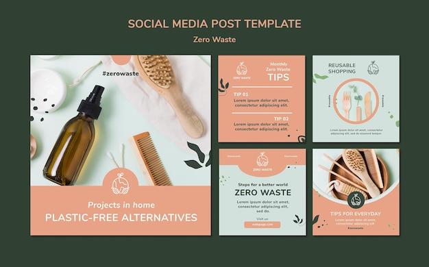 Raccolta di post su instagram per uno stile di vita a rifiuti zero Psd Gratuite