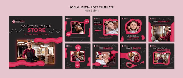 Instagram posts for hair salon Free Psd