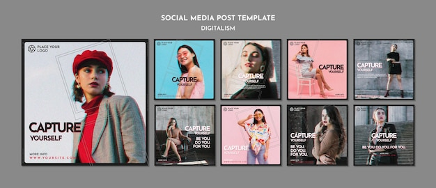 Instagram posts pack for capture yourself theme Free Psd
