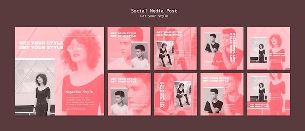 Пакет постов в instagram для журнала в электронном стиле Бесплатные Psd