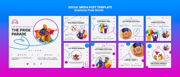 Instagram posts pack for lgbt pride Free Psd