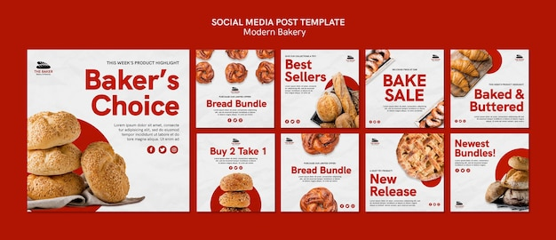 Instagram posts set for bread cooking business Free Psd