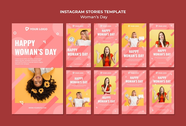 Instagram posts template for woman's day Free Psd