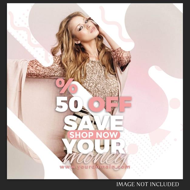 Instagram sale fashion post template Premium Psd