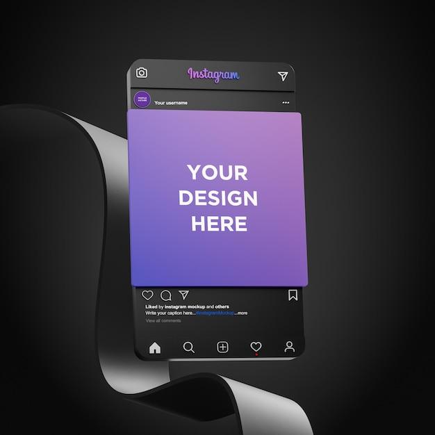 Instagram social media mockup dark mode interface 3d render