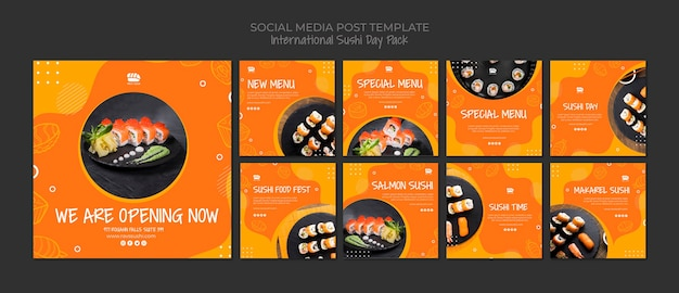 Instagram social media post collection for sushi restaurant Free Psd