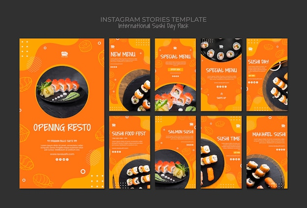 Instagram social media stories collection for sushi restaurant Free Psd