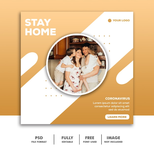 ソーシャルメディアの投稿テンプレートinstagram、stay home家族の愛 Premium Psd