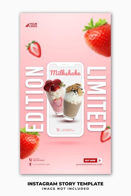 Шаблон баннера instagram stories для ресторана, меню еды, напитка, молочного коктейля Premium Psd
