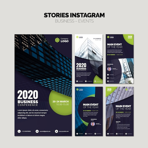 Instagram stories collage of business templates Free Psd