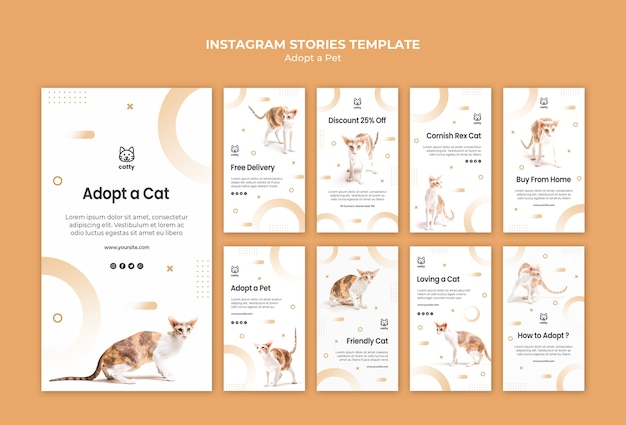 Instagram stories collection for adopting a pet Free Psd