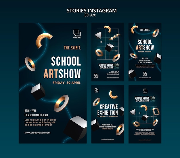Instagram stories collection for art exhibition with creative three-dimensional shapes Premium Psd