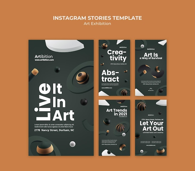 Instagram stories collection for art exhibition with geometric shapes Premium Psd