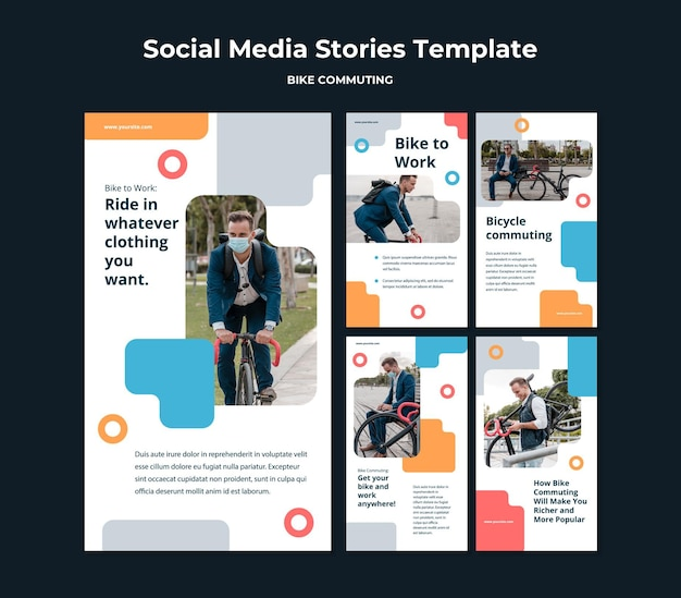 Instagram stories collection for bicycle commuting with male passenger Premium Psd