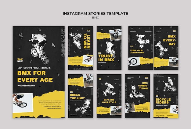Instagram stories collection for bmx biking with man and bicycle Premium Psd