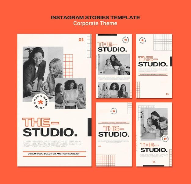 Instagram stories collection for corporate studio Premium Psd