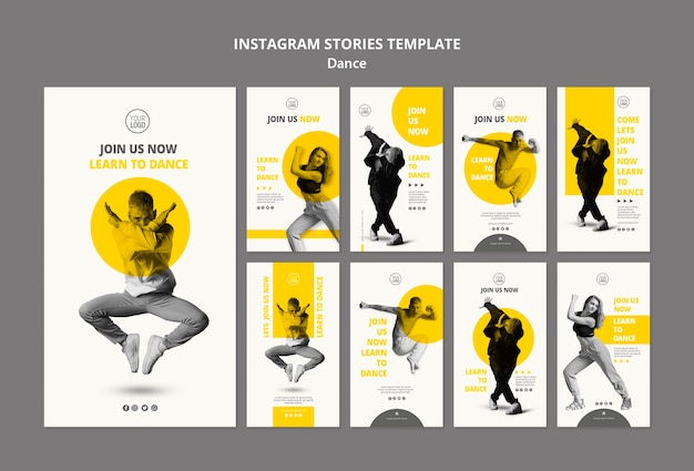 Instagram stories collection for dance lessons Free Psd