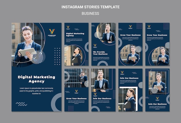 Instagram stories collection for digital marketing agency Free Psd