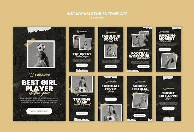 Instagram stories collection for female football player Premium Psd