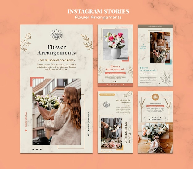 Instagram stories collection for floral arrangements shop Free Psd