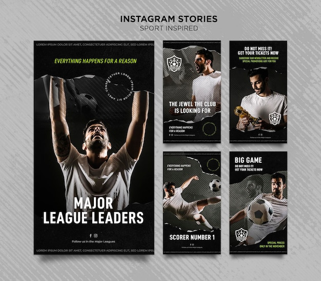 Instagram stories collection for football club Premium Psd