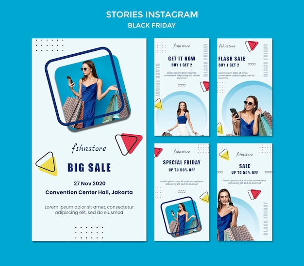 여자와 삼각형이있는 검은 금요일에 대한 Instagram 이야기 모음 프리미엄 PSD 파일