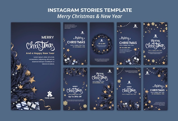 크리스마스와 새해를위한 Instagram 이야기 모음 프리미엄 PSD 파일